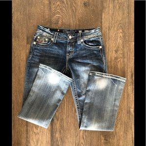 """MISS ME """"mid-rise easy boot"""" distressed jeans"""